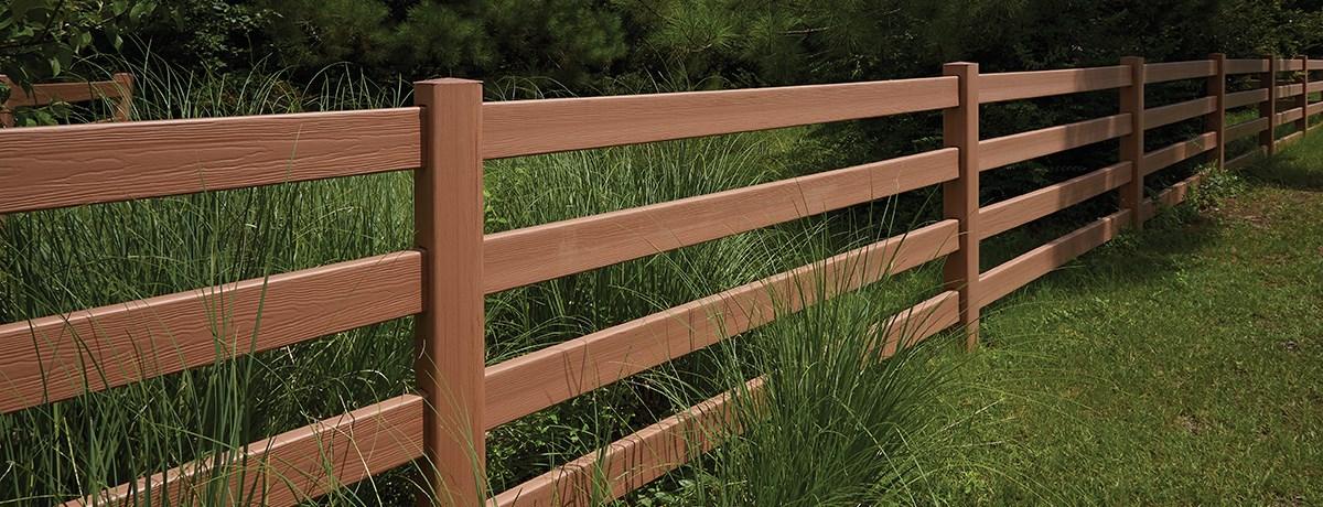 Rail post with certagrain texture fence