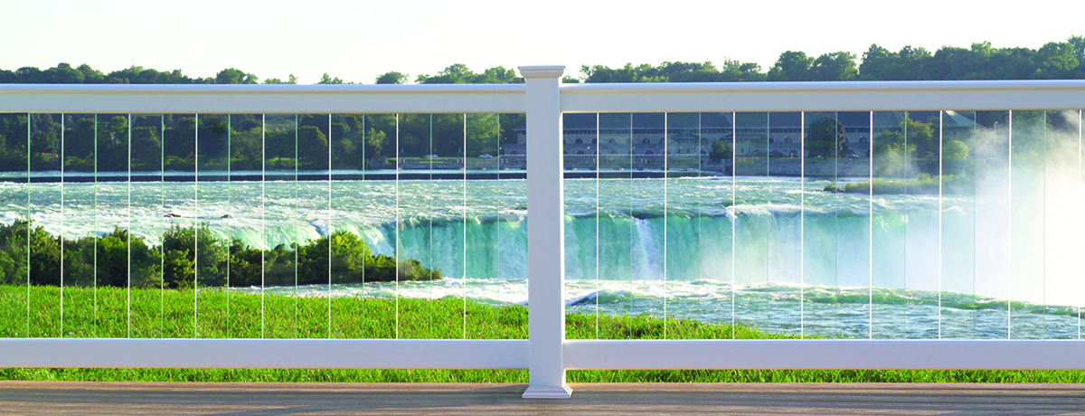 Certainteed Window Glazing : Oxford vinyl railing with glass balusters system