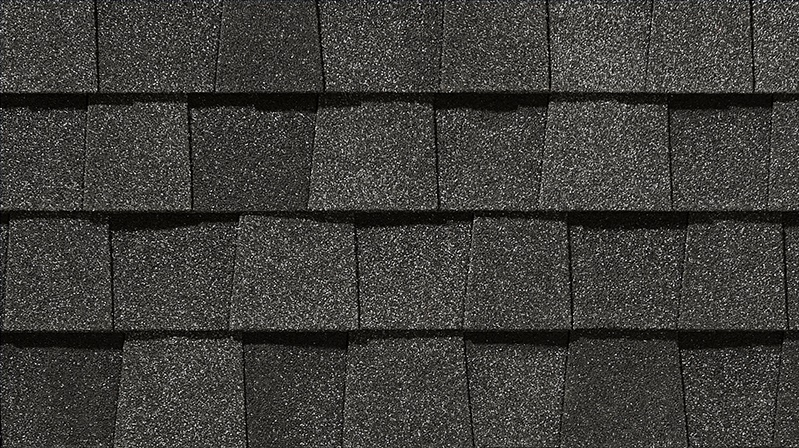 Closeup photo of NorthGate shingles in the color Moire Black