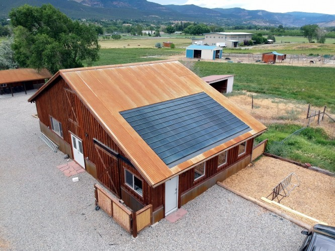 The Apollo II solar shingle array installation at SEI's campus in Colorado