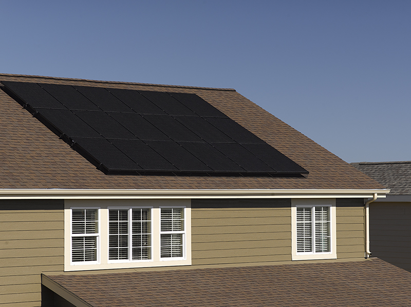 A rooftop solar panel array